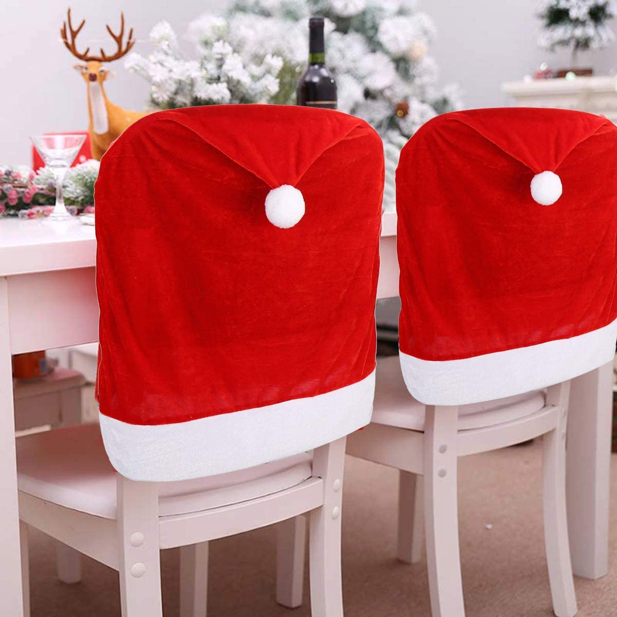 4pc Red Hat Dining Chair Slipcovers,Christmas Chair Back Covers Kitchen Chair Covers for Christmas Holiday Festival Decoration: Home & Kitchen