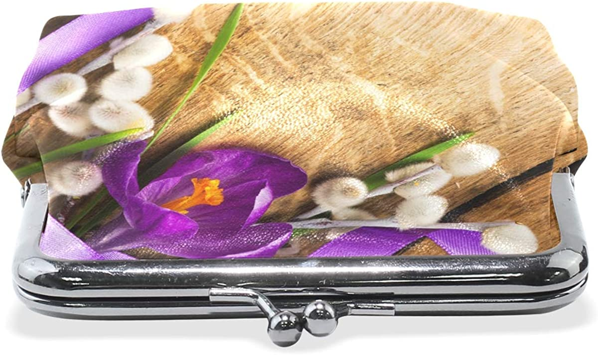 Women Wallet Purse Easter Spring Flowers On Wooden Clutch Bag Leather