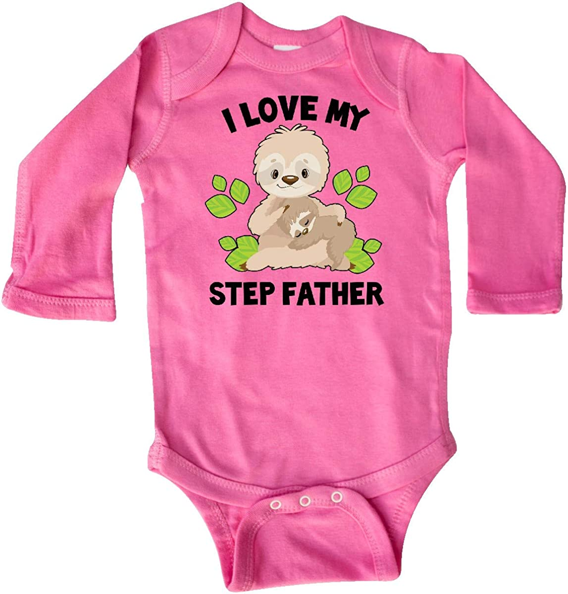 inktastic Cute Sloth I Love My Step Father with Green Leaves Long Sleeve Creeper