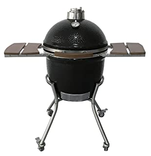 Kamado Charcoal Barbecue Egg Grill and Smoker Ceramic Briquettes Griller with Accessories Cart & Ash Tool & Thermometer BBQ Kamado Style Cooker,Black