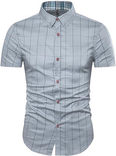 AIYINO Hombre Tiempo Libre Camisa Cuadros Impresión Contraste 100% algodón Tracht Camisa G-Grau XS: Amazon.es: Ropa y accesorios