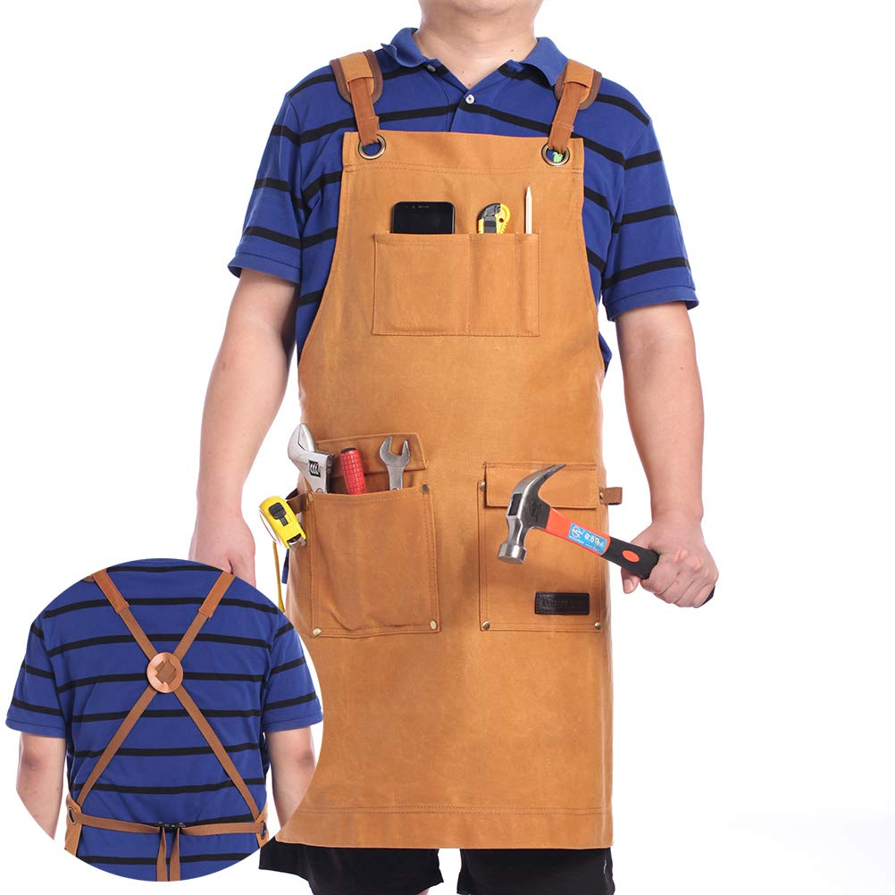 WHITE SEEK Waxed Canvas Shop Apron for Men & Women.Woodworking Aprons Heavy Duty Work Apron with Pockets. Big Bulk Tool Apron with Adjustable Cross-Back Strap.(Brown) by WHITE SEEK