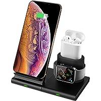 Hoidokly Cargador Inalámbrico,[3 en 1] Soporte de Carga para iPhone y Apple Watch, Base de Carga Rápida para Apple Watch Series 1/2/3/4, AirPods, iPhone XS/XS MAX/XR/X /8 Plus y Teléfonos Qi-Enabled