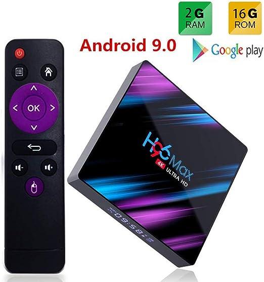 WXJHA Android 9.0 TV Box de 2 GB de RAM/ROM 16GB RK3318 Quad-Core de 64 bits Cortex-A53, 5 GHz WiFi Smart Box H.265 decodificación de 2,4 GHz/TV: Amazon.es: Hogar