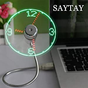 SAYTAY USB LED Clock Fan, Mobile USB Fan Portable Cooling Mini USB Quiet Gooseneck Fan for Office, Home & Travel (Clock)