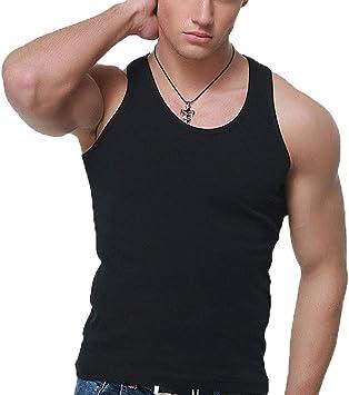 Caidi - Camiseta de tirantes para hombre de algodón liso, camiseta sin mangas, camiseta de deporte, elástica, ajustada, para fitness, gimnasio, cuello redondo negro Negro 2XL: Amazon.es: Oficina y papelería