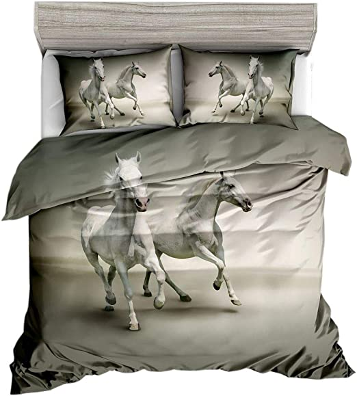 3D white horse running print black boy home microfiber set animal bedding 2 pillowcase bedding