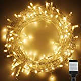 PMS 500 LED String Fairy Lights on Clear Cable with 8 Light Effects, Low Voltage Transformer included, UL Listed, Ideal for Christmas, Xmas, Party,Wedding,etc (500 LESs, Warm White)