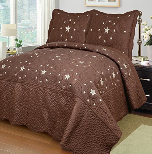Mk Collection Choclate/brown 3 Pc Bedspread Coverlet Embroiderey Western Lone Star Quilt Set (Full/queen)