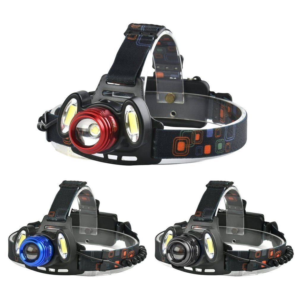 Ultra Lumineux Xzeit lampe frontale, 3XM-L T6LED 4modes Phare, mains libres résistant à l'eau lampe de poche, rotatif, rechargeable avec zoom lampe frontale LED pour sports de plein air 3XM-L T6LED 4modes Phare Red