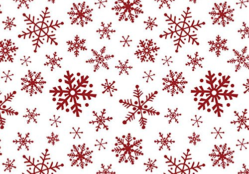 (Bundleofbeauty Bj876a - Red & White Snowflakes Gift Wrap Packaging Tissue Paper 20