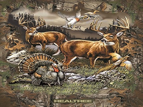 Fleece Realtree Deer Country Turkey Pheasant Ducks Hunting Wildlife Outdoors Mountains Scenic Fleece Fabric Panel 1545 (Hunting Fleece Fabric)