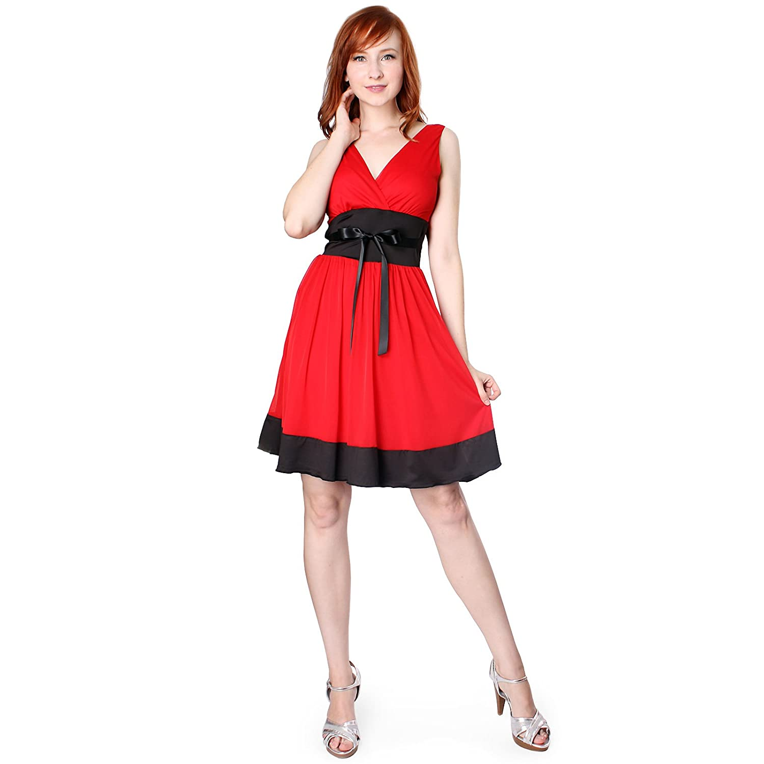 EVANESE Womens Short Evening Cocktail Knee Length Dress With Satin Tapes XL Red//Black