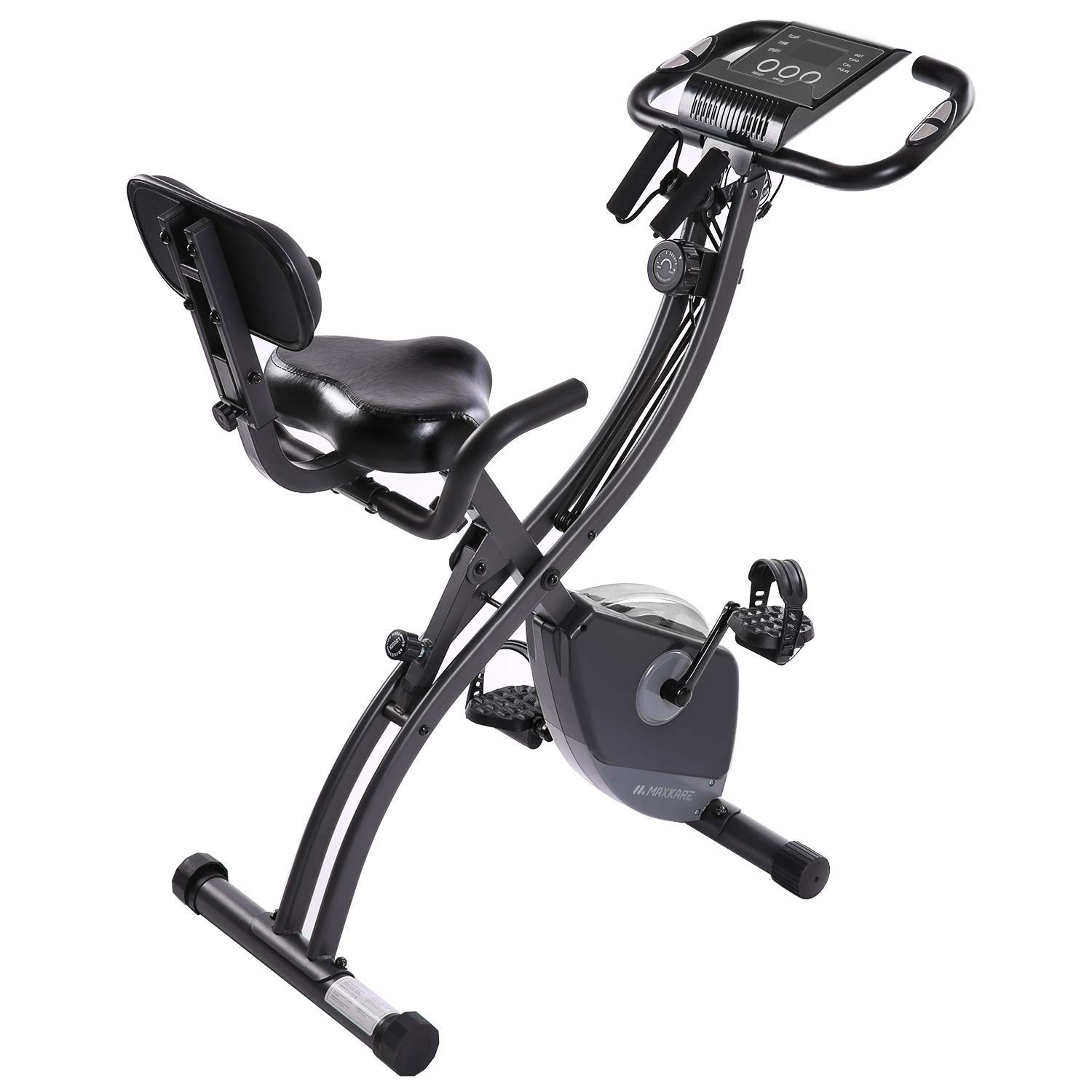 MaxKare 2 in1 Folding Magnetic Upright Exercise Bike w/Pulse, Indoor Stationary Bike with Adjustable Arm Resistance Bands and LCD Monitor by MaxKare (Image #2)