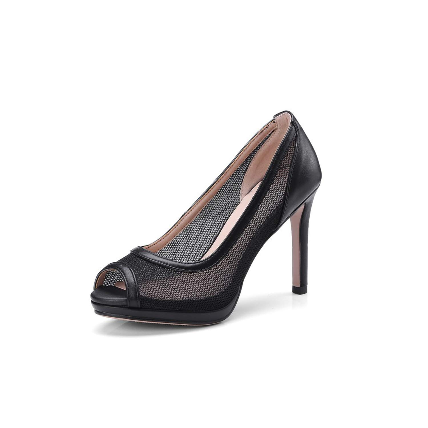 Black Sunny Doll Big Size 34-43 2019 Summer Women peep Toe high Heels Pumps