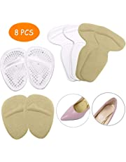 High Heel Pads - 4pcs Ball of Foot Cushion and 4pcs Heel Grip Liner - Self-Adhesive Antislip Shoe Inserts for Heel Pain Relief and Blister Prevention