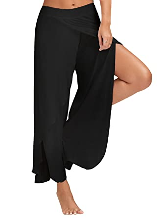 386ea4be97f FITTOO Women s Casual High Slit Layered Wide Leg Yoga Pants Cropped Palazzo  Pants Black