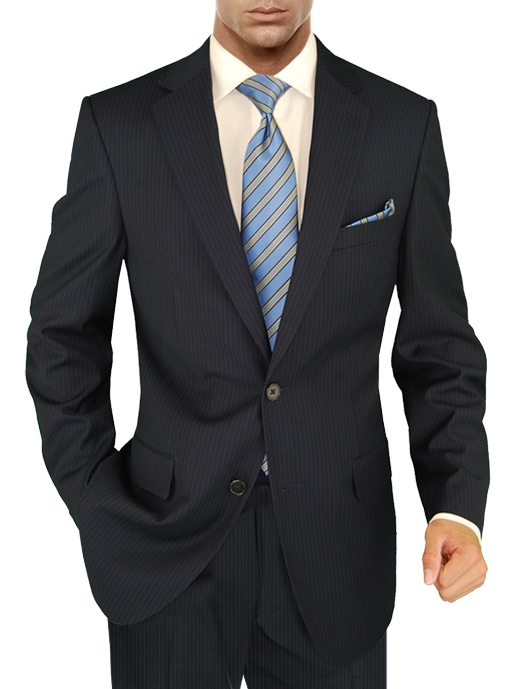 Salvatore Exte Men's Suit Modern Two Button 2 piece Striped (40 Regular, Dark Navy) by Salvatore Exte (Image #2)