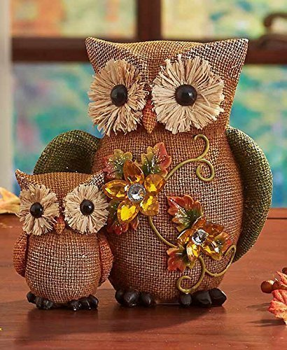 fall jeweled shelf table top sitter thanksgiving autumn home accent decoration owls by knl store - Owl Home Decor