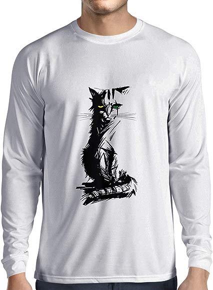 lepni.me Camiseta de Manga Larga para Hombre Lindo Gato con Ojos ...
