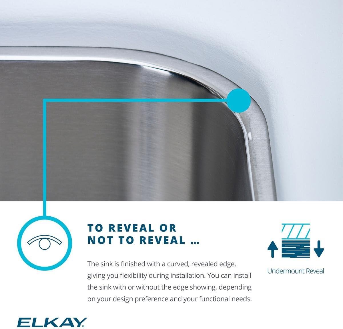 Elkay ELUH3120R Lustertone Classic Offset Double Bowl Undermount Stainless Steel Sink
