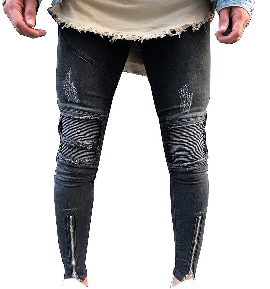 Gladiolus Elásticos Vaqueros para Hombre Slim Fit Destruido Zip Caviglia Moto Pantalones