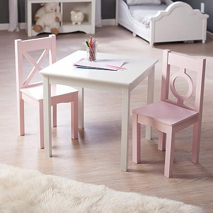 Lipper Hugs and Kisses Table and 2 Chair Set - \u0026 Pink & Amazon.com: Lipper Hugs and Kisses Table and 2 Chair Set - \u0026 Pink ...