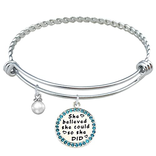 LINKY She Believed She Could So She Did Inspirational Expandable Bangle Bracelet