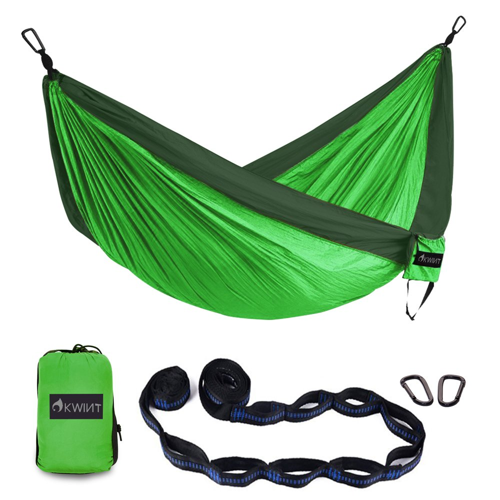 OKWINT Double Camping Hammock Garden Hammock Ultralight Nylon Portable Hammock, Heavy-duty 500lbs Parachute Hammockfor Backpacking, Camping, Travel, Bea (Blackish Green & Green, Double)