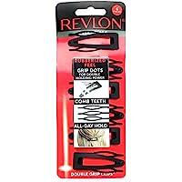 Revlon Essentials Rubberized Double Grip Hair Clips, 6 Count Revlon Double Grip Hair Clips 6 Count Rubberized Black