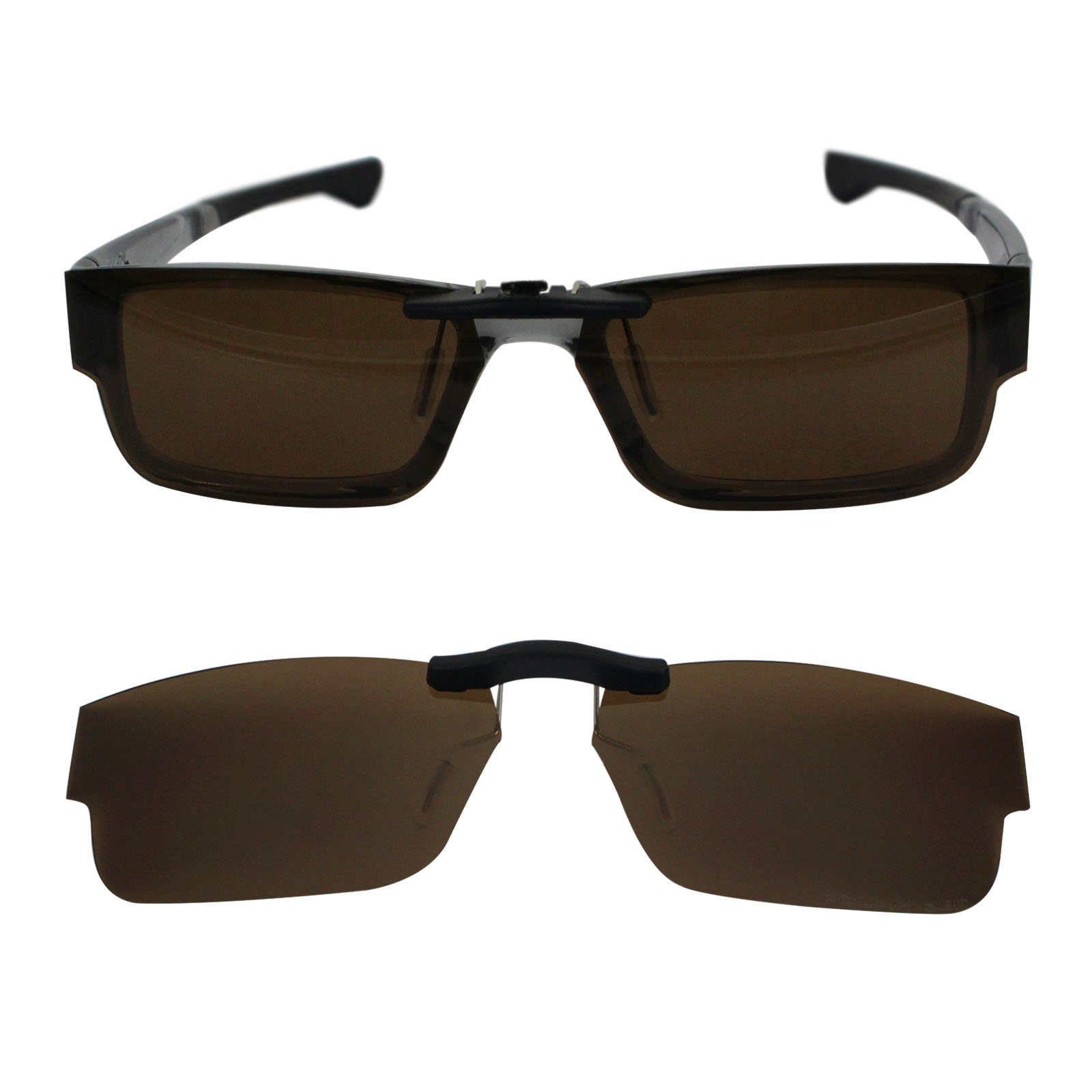 Custom Polarized Clip on Sunglasses For Oakley Airdrop 51 OX8046 51-18-143 (Brown) by oGeee (Image #1)