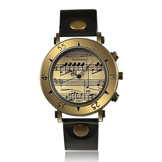 Caliente vender Womage reloj correas de cuero relojes de pulsera de cuarzo Ladies Fashion Nota relojes: Amazon.es: Relojes