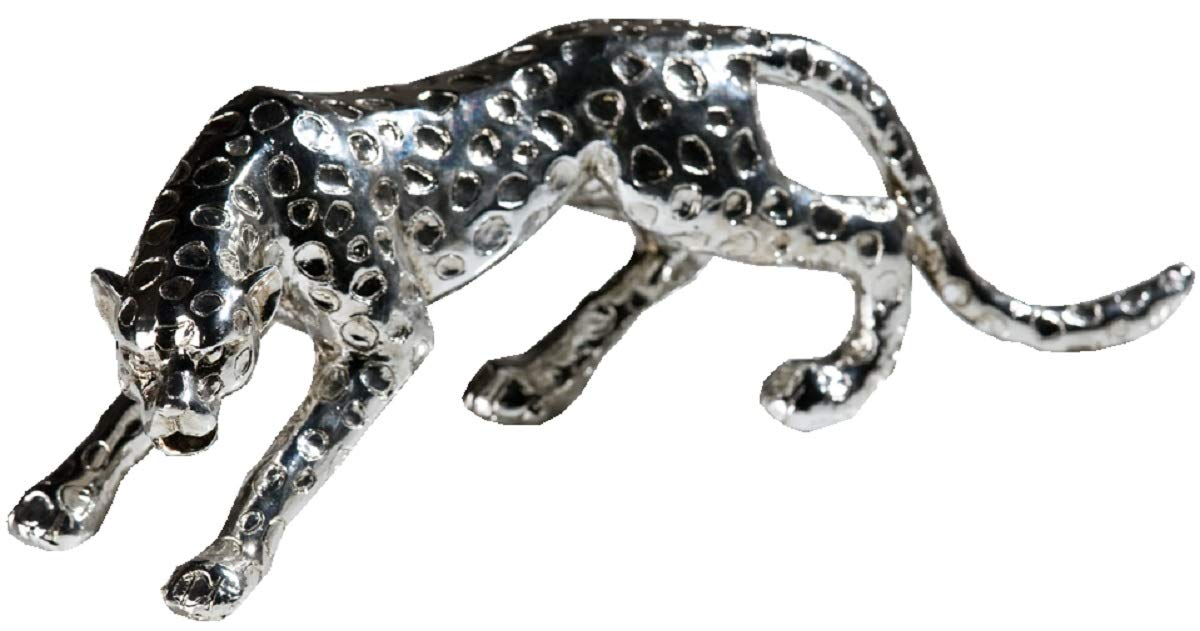 Edler Gepard silber Figur 28 cm Raubtier Panther TOP Deko