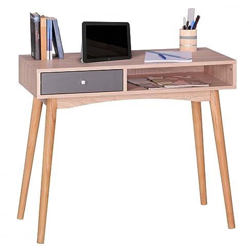 Computertisch drucker modern  WOHNLING Schreibtisch Design Bürotisch mit Schublade Sonoma/Grau ...