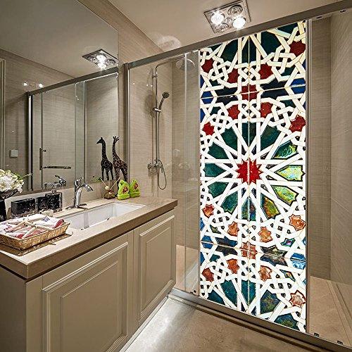 Kaleidoscope Glass Tile (Bedroom Door Sticker, Kaleidoscope Bathroom Glass Door Sticker Window Film Wall Decals 15.15