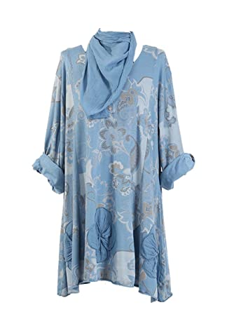 1f9adbbd9c7 New Ladies Floral Italian Lagenlook Tunic Top Women Cotton Tunic Top Plus  sizes (Denim)