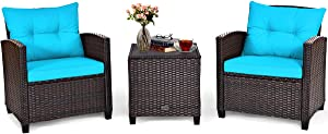 Tangkula 3 Pieces Patio Furniture Set, PE Rattan Wicker 3 Pcs Outdoor Sofa Set w/Washable Cushion and Tempered Glass Tabletop, Conversation Furniture for Garden Poolside Balcony (Turquoise)