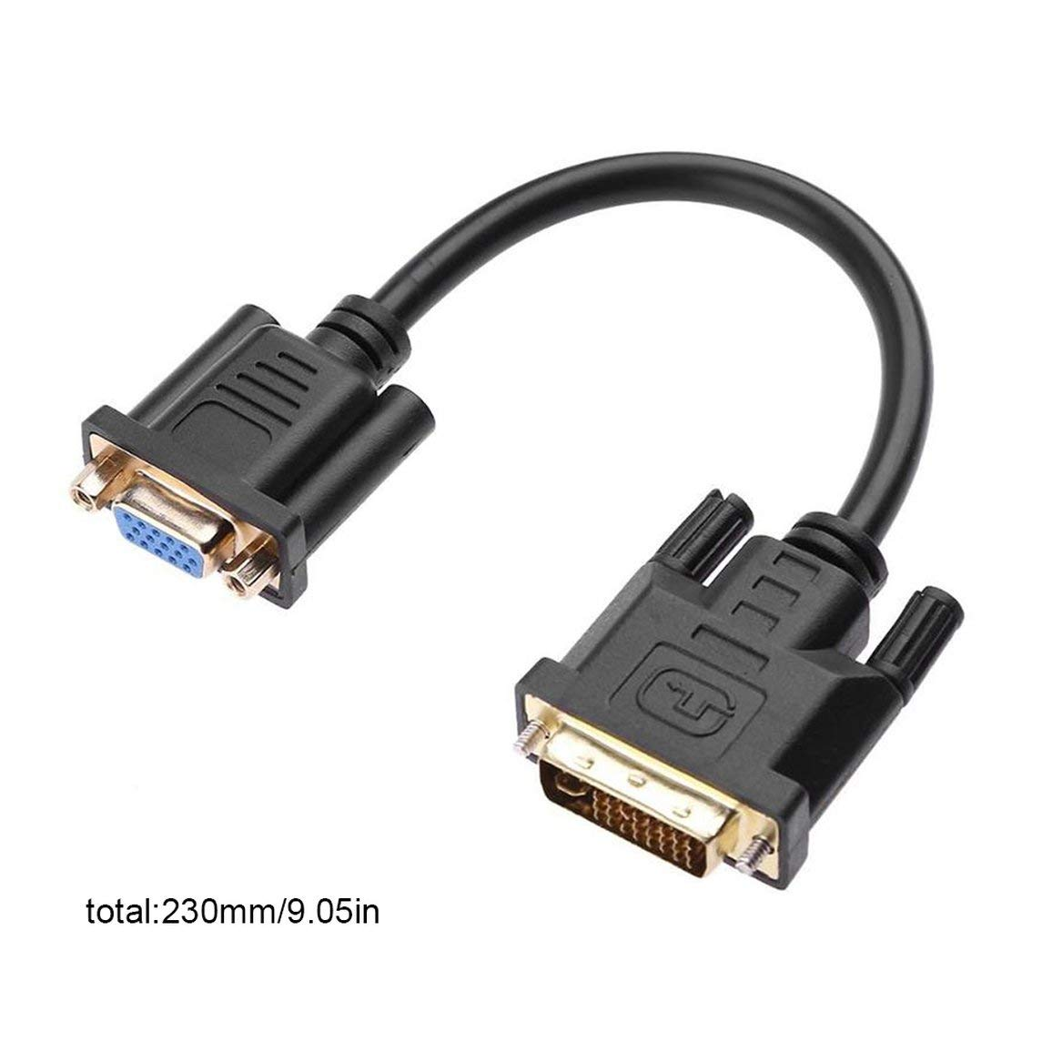 DVI-D 24+1 Pin Male to VGA 15 Pin Female Active Cable Adapter Converter US