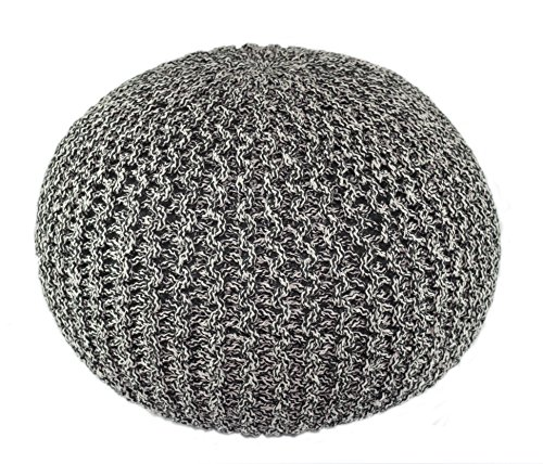 Cotton Craft - Hand Knitted Cable Style Tweed Dori Pouf - Charcoal/Black - Floor Ottoman - 100% Cotton Braid Cord - Handmade & Hand stitched - Truly one of a kind seating - 20 Dia x 14 High by Cotton Craft