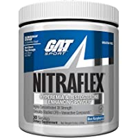 GAT - NITRAFLEX - Testosterone Enhancing Powder, Increases Blood Flow, Boosts Strength and Energy, Improves Exercise Performance, Creatine-Free (Blue Raspberry, 30 Servings)