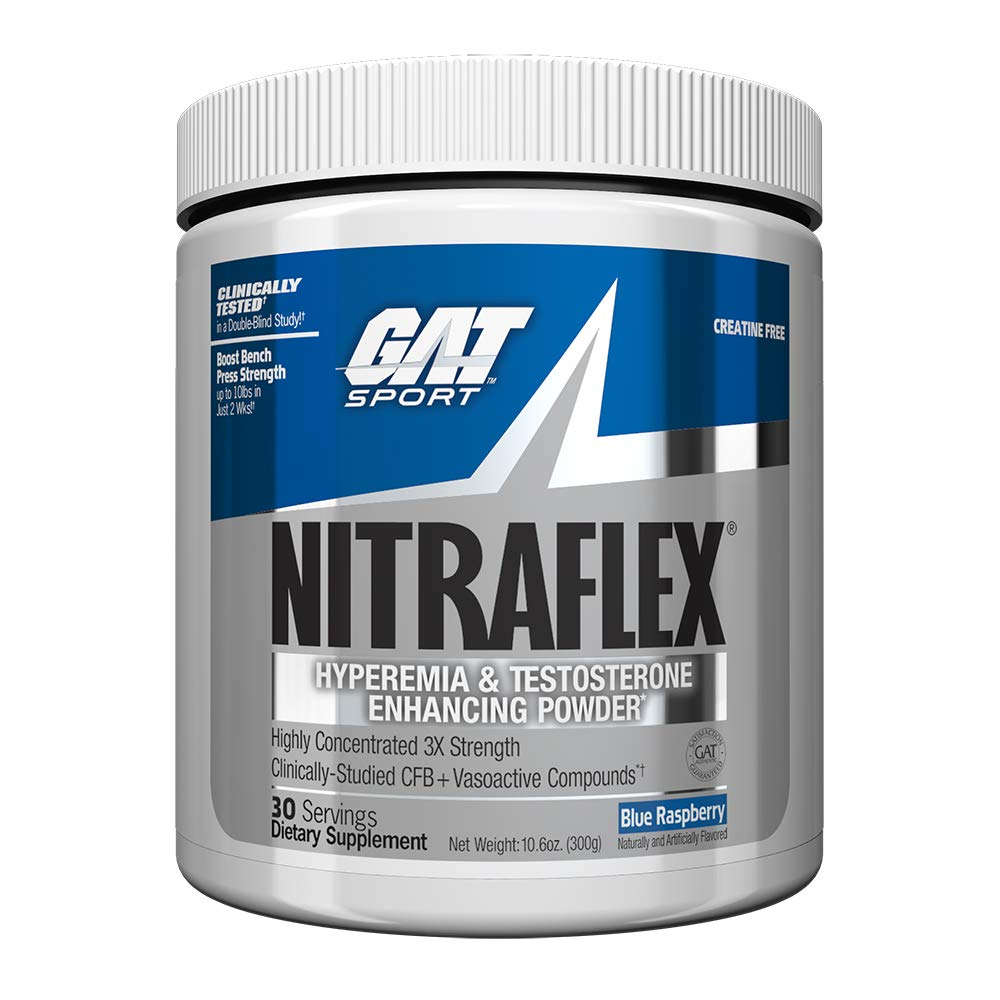 GAT – NITRAFLEX – Testosterone Boosting Powder, Increases Blood Flow, Boosts Strength and Energy, Improves Exercise Performance, Creatine-Free Blue Raspberry, 30 Servings , 10.6 Ounce Pack of 1
