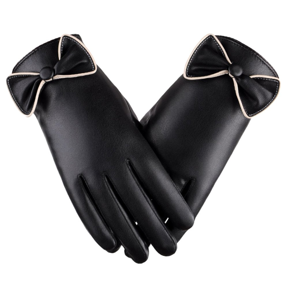 Zhhlinyuan Winter PU Leather Waterproof Warm Gloves Womens Bowknot Touchscreen