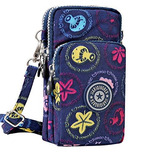 Wocharm Womens Mini 3 Layers Crossbody Shoulder Messenger Handbag Wristlet Purse Deep Blue Mushroom