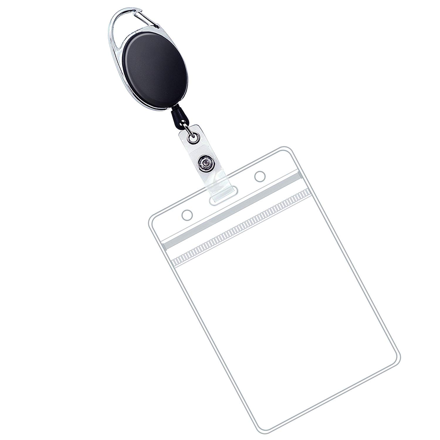 Loves ID Card Holder - 1 Retractable Badge Holders with Carabiner Reel Clip and Vertical Card Holder, Black