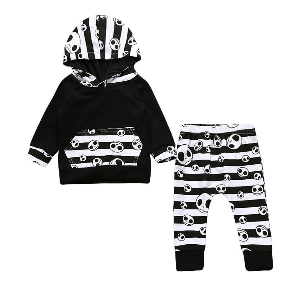 a70d8d4fec05 Amazon.com  Outtop(TM))) Toddler Infant Baby Boys Girls Halloween Toddler  Striped Tops Hoodie Pants Outfits 2Pcs Set Clothes  Clothing