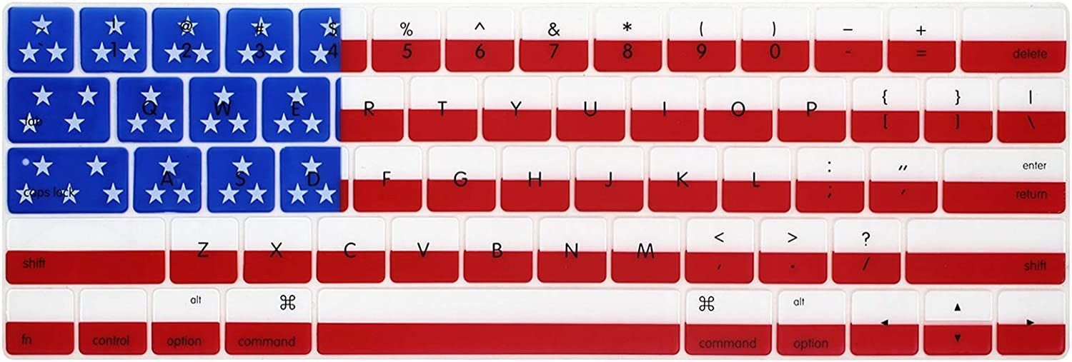 WYGCH American Flag Stars and Stripes Silicone Keyboard Cover Protective Skin for MacBook Pro 13 15 inch 2019 2018 2017&2016 with Touch Bar&Touch ID Model:A2159 A1989 A1706/A1990 A1707,USA Version