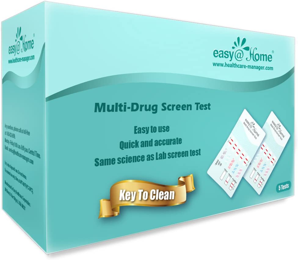 5 Pack Easy@Home 10 Panel Instant Drug Test Kits - Testing Marijuana (THC), Opiate(OPI 2000), Cocaine(COC), AMP, BAR, BZO, MDMA, MET, MTD, PCP - Urine Dip Drug Testing -#EDOAP-3104