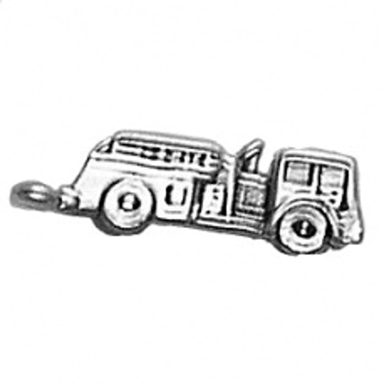 Sterling Silver 7 4.5mm Charm Bracelet With Attached 3D Firefighters Fire Engine Truck Charm