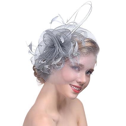 donne ragazze piuma fascinator cappello fiori in tulle con passanti garza  Tornante nozze ornamenti cocktail 7cc893368a6d