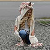 Umiwe Union Hooded Hat Scarf, Cute Shawls Earflap Hats Caps Kids Gift for 3-12 Year Old Girls
